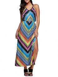 Retro Style Halter Allover Tribal Print Women High Slit Dress