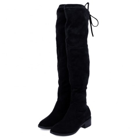 Old Classical Solid Color Elastic Knee Boots for Women