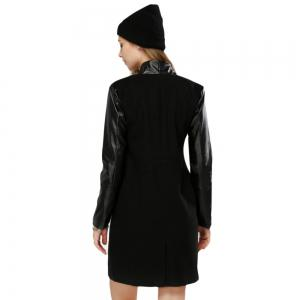 Elegant Turn-down Collar Long Sleeve PU Spliced Sheath Pure Color Women Overcoat -