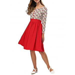 Old Classical Round Collar Printed Long Sleeve Waist Spliced Dress -