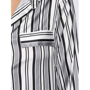 Street Style Turn Down Collar Allover Striped Button Design Women Blouse - WHITE AND BLACK L
