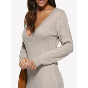 Plunging Neck Pure Color Loose Jumper Dress -
