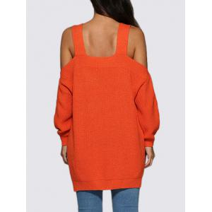 Sexy Cold Shoulder Loose-Fitting Knitted Women Sweater - ORANGE RED M
