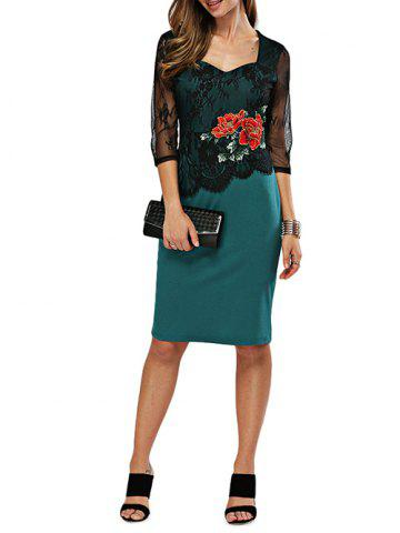 Shop Elegant Sweetheart Neck Floral Embroidery Sheath Women Dress GREEN M