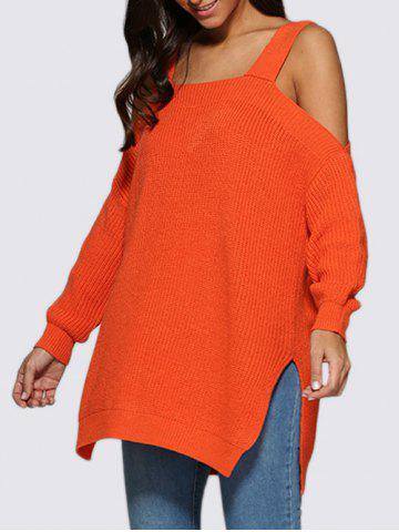 Outfits Sexy Cold Shoulder Loose-Fitting Knitted Women Sweater ORANGE RED M