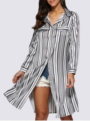 New Street Style Turn Down Collar Allover Striped Button Design Women Blouse - M WHITE AND BLACK Mobile