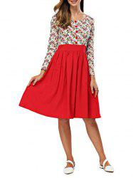 Retro Round Collar Printed Long Sleeve Waist Spliced Dress
