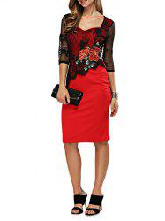 Elegant Sweetheart Neck Floral Embroidery Sheath Women Dress - RED