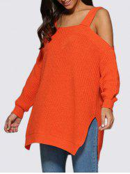 Sexy Cold Shoulder Loose-Fitting Knitted Women Sweater -