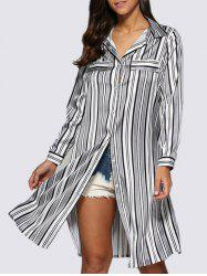 Street Style Turn Down Collar Allover Striped Button Design Women Blouse - WHITE AND BLACK 2XL