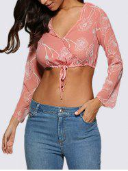 Refreshing V-Neck Floral Women Crop Top - LIGHT PINK M