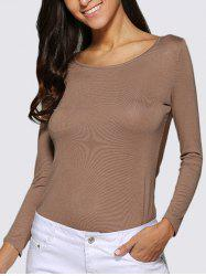 Sexy Scoop Collar Sheer Pure Color Women T-Shirt -