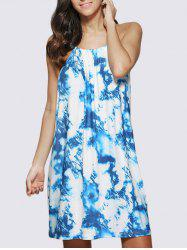Chic Spaghetti Strap Ombre Printed Women Mini Dress - BLUE