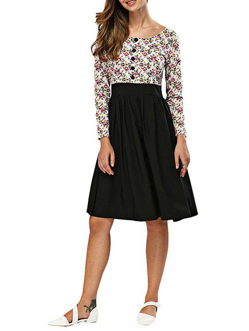 Fashion Old Classical Round Collar Printed Long Sleeve Waist Spliced Dress