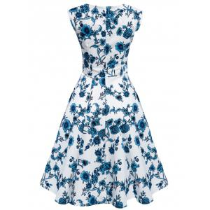 Floral Tea Length Vintage Swing Dress