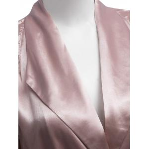 Longline Belted Satin Duster Coat - PALE PINKISH GREY S