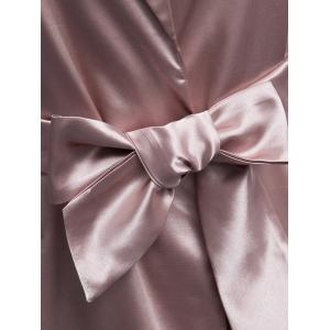 Longline Satin Duster Coat - PALE PINKISH GREY M