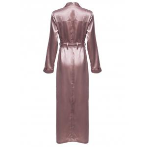 Longline Belted Satin Duster Coat - PALE PINKISH GREY XL