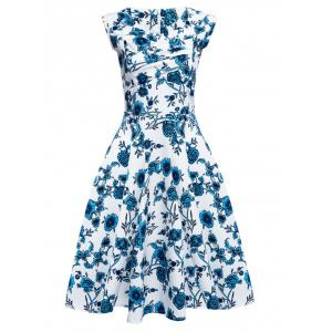 Floral Tea Length Vintage Swing Dress -