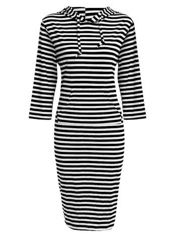 Shops Hooded Striped Front Pocket Bodycon Casual Dress WHITE/BLACK S