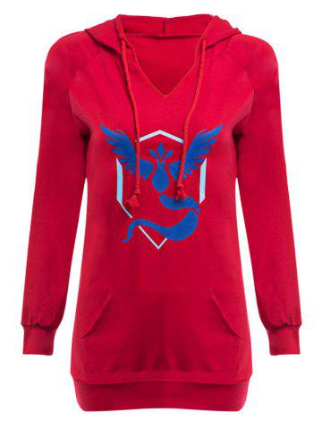 Fashion Casual Hooded Front Pocket Print Women Hoodie BLUE AND RED S