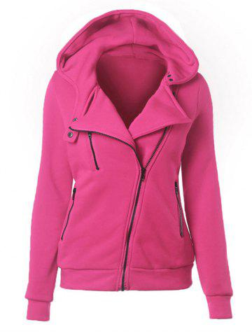 Buy Casual Turn-down Collar Zipper Button Design Women Hoodie - Rose Madder L