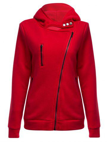 Buy Casual Turn-down Collar Zipper Button Design Women Hoodie - Wine Red L