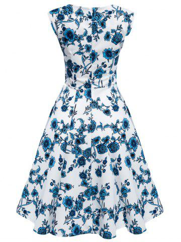 Hot Floral Tea Length Vintage Swing Dress BLUE AND WHITE 3XL