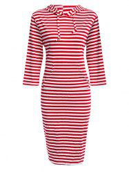 Hooded Striped Front Pocket Bodycon Casual Dress
