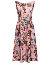 Old Classical Style Round Collar Allover Print A-Line Women Dress -