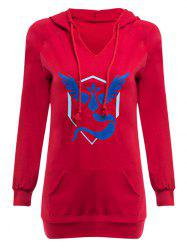Casual Hooded Front Pocket Print Women Hoodie - BLUE AND RED S