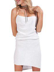 Sexy Spaghetti Strap Pure Color Knitted Women Bodycon Dress - WHITE S