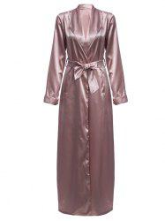 Longline Belted Satin Duster Coat - PALE PINKISH GREY M