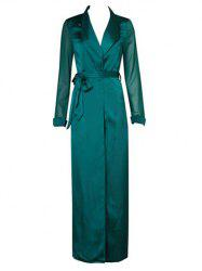 Longline Belted Satin Duster Coat - GREEN