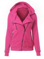 Casual Turn-down Collar Zipper Button Design Women Hoodie -
