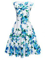 Floral Tea Length Vintage Swing Dress - WHITE