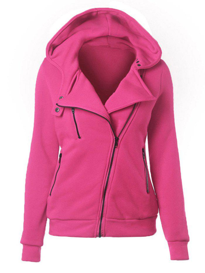 Casual Turn-down Collar Zipper Button Design Women HoodieWOMEN<br><br>Size: M; Color: ROSE MADDER; Material: Cotton; Fabric Type: Broadcloth; Shirt Length: Regular; Sleeve Length: Full; Style: Casual; Pattern Style: Solid; Elasticity: Elastic; Weight: 0.365kg; Package Contents: 1 x Hoodie;
