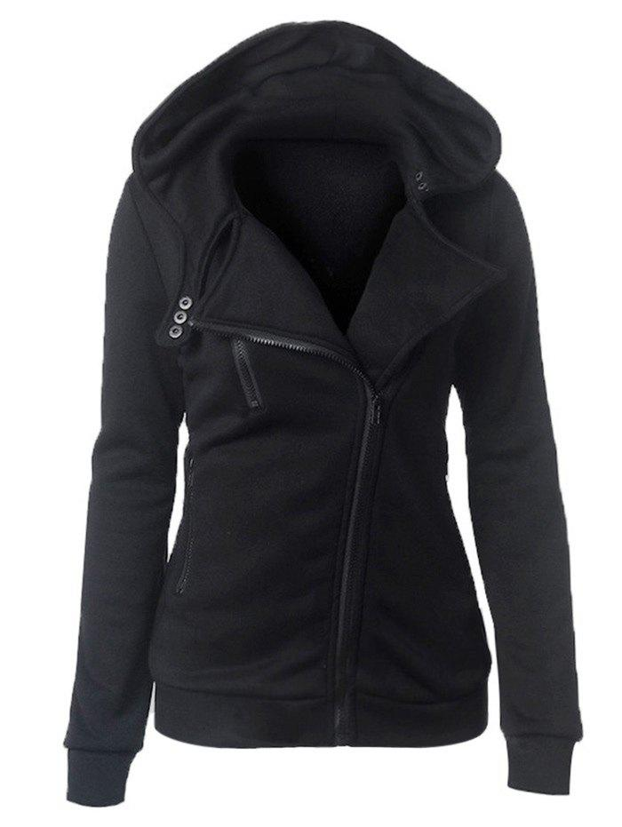 Casual Turn-down Collar Zipper Button Design Women HoodieWOMEN<br><br>Size: M; Color: BLACK; Material: Cotton; Fabric Type: Broadcloth; Shirt Length: Regular; Sleeve Length: Full; Style: Casual; Pattern Style: Solid; Elasticity: Elastic; Weight: 0.365kg; Package Contents: 1 x Hoodie;
