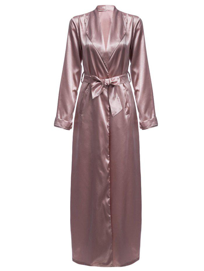 Pale Pinkish Grey S Longline Belted Satin Duster Coat | RoseGal.com