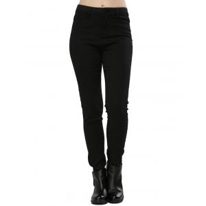 Stylish High Waist Elastic Pure Color Sheath Women Pencil Pants - Black - Xl