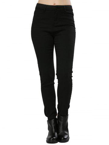 Stylish High Waist Elastic Pure Color Sheath Women Pencil Pants - BLACK S