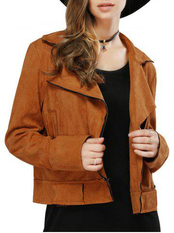 Outfit Fashionable Turn-down Collar Long Sleeve Belt Zipper Type Pure Color Women Jacket