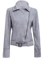 Fashionable Turn-down Collar Long Sleeve Belt Zipper Type Pure Color Women Jacket