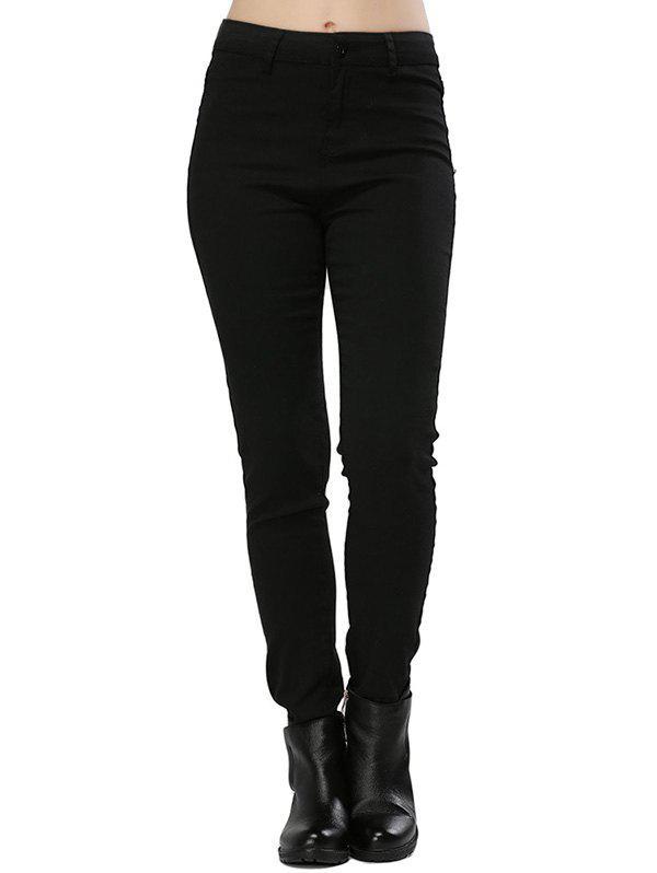 Stylish High Waist Elastic Pure Color Sheath Women Pencil PantsWOMEN<br><br>Size: M; Color: BLACK; Style: Fashion; Length: Normal; Material: Denim,Down; Fabric Type: Denim; Fit Type: Regular; Waist Type: High; Closure Type: Zipper Fly; Pattern Type: Solid; Pant Style: Pencil Pants; Elasticity: Elastic; With Belt: No;