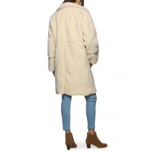 Stylish Turn Down Collar Pure Color Women Coat - OFF-WHITE M