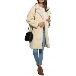 Stylish Turn Down Collar Pure Color Women Coat - OFF-WHITE XL