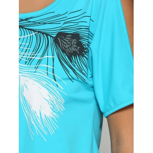 Chic Scoop Collar Cold Shoulder Printed Women T-Shirt -