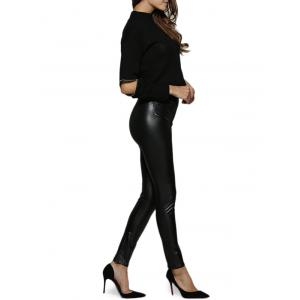 Chic Round Collar Cut Out Zippered Black Women Blouse -