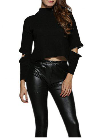 Hot Chic Round Collar Cut Out Zippered Black Women Blouse