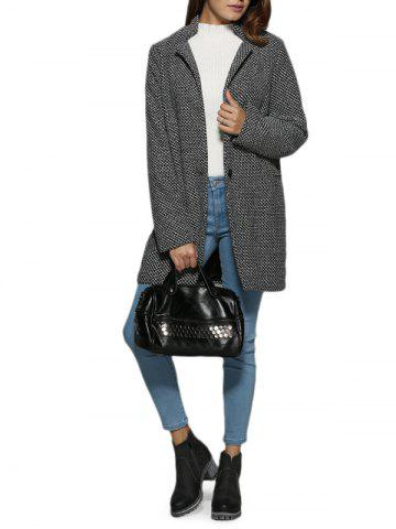 Outfit Trendy Turn Down Collar Houndstooth Pocket Women Coat